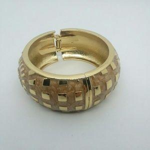Beautiful Gold Tone Hinged Bangle Bracelet